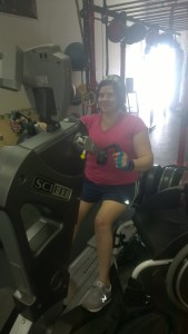 Me on the arm bike at the gym